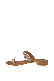 Tan Handmade Embroidered Slip-On Sandals by Ash Amaira