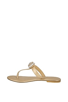 Champagne Embellished Sandals by Ash Amaira