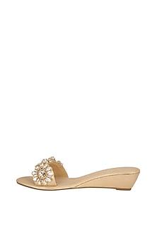 Champagne Embellished Slip-On Sandals by Ash Amaira