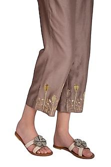 Tan Handmade Floral Embellished Slip-On Sandals by Ash Amaira