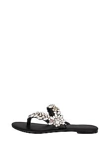 Black Handmade Embellished Braided Slip-On Sandals by Ash Amaira