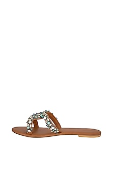 Tan Handmade Opal Embellished Slip-On Sandals by Ash Amaira