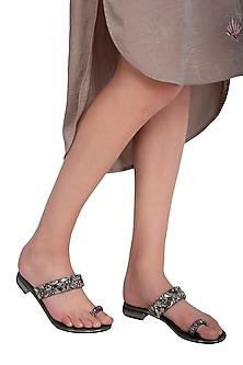 Dark Grey Handmade Embellished Slip-On Sandals by Ash Amaira