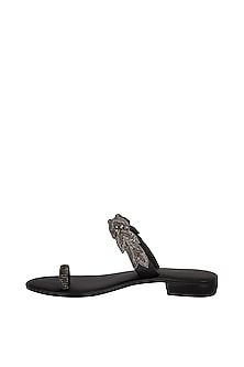 Black Handmade Embroidered Slip-On Sandals by Ash Amaira