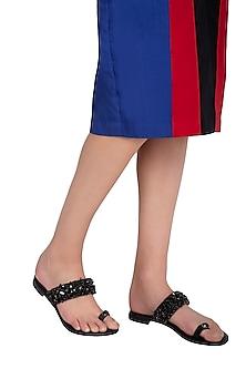 Black Handmade Embellished Strap Slip-On Sandals by Ash Amaira