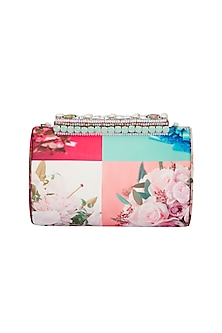 Multi Colored Handmade Printed Clutch With Austrian Crystals by Ash Amaira
