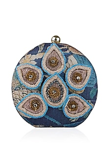 Navy Blue Forest Print and Leaf Embroidered Box Clutch by Aharin India