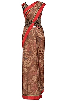 Brown Embroidered Saree with Blouse and Waistbelt by Aharin India