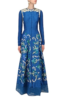 Teal Floral Resham Embroidered Kurta and Palazzo Pants Set by Aharin India