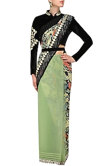 Pastel Green Embroidered Saree with Blouse and Waistbelt by Aharin India