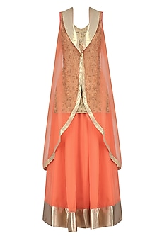 Gold Embroidered Long Kurta with Orange Skirt and Cape