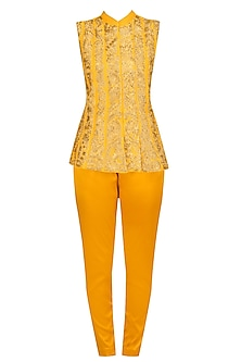 Yellow Embroidered Jacket and Fitted Pants Set by Aharin India