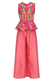 Pink Birds Embroidered Jacket and Pants Set