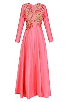 Pink Floral Embroidered Long Kurta Jacket by Aharin India