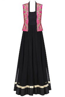Black Anarkali and Palazzo Pants with Floral Embroidered Jacket