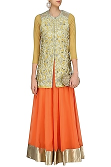 Golden Zari Embroidered Jacket with Coral Lehenega Skirt by Aharin India