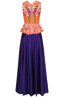 Pink Dori and Resham Embroidered Peplum Jacket with Blue Lehenga Skirt by Aharin India