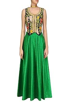 Navy Blue Fruits Embroidered Waistcoat with Green Lehenga Skirt by Aharin India