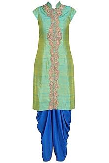Pista Green Zari Embroidery Achkan with Blue Dhoti Pants