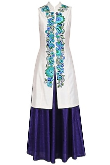 Ivory Floral Embroidered Jacket with Blue Lehenga Skirt