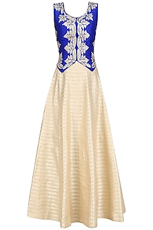 Blue Leaf Embroidered Waistcoat with Golden Lehenga Skirt by Aharin India