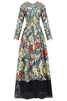 Navy Blue Embroidered Long Jacket and Palazzo Pants Set