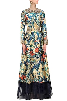 Navy Blue Embroidered Long Jacket and Palazzo Pants Set by Aharin India