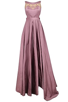 Mauve Zari Embroidered Flared Gown by Aharin India