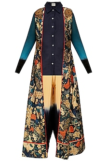 Navy Blue Embroidered Jacket, Shirt Tunic and Dhoti Pants Set by Aharin India