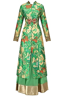 Turquoise Green Embroidered Achakan Jacket and Skirt Set