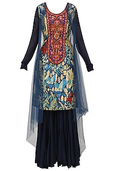 Navy Blue Embroidered Kurta, Sharara Pants and Cape Set