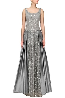 Grey Mirror and Dori Embroidered Gown by Aharin India