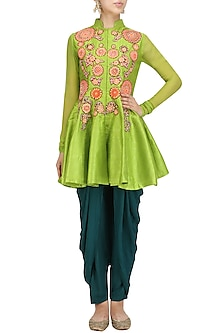 Lime Green Embroidered Flared Jacket with Dhoti Pants by Aharin India