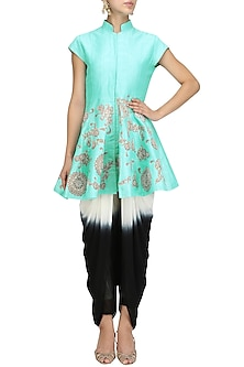 Turquoise Embroidered Flared Jacket with Dhoti Pants by Aharin India