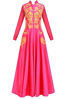 Pink Embroidered Flared Anarkali Jacket with Palazzo Pants by Aharin India