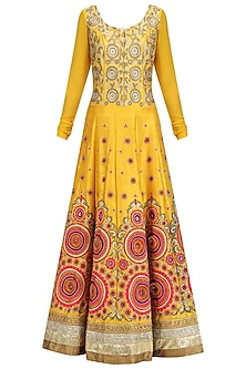 Yellow Embroidered Kalidaar Anarkali with Pink Dupatta Set