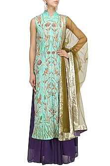 Turquoise Jaal Embroidered Kurta with Mauve Lehenga and Dupatta Set by Aharin India