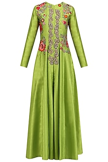 Lime Green Embroidered Flared Anarkali Jacket with Palazzo Pants