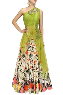 Green Embroidered One Shoulder Net Drape Blouse and Lehenga Set by Aharin India