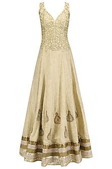 Gold Embroidered Flared Anarkali and Dupatta Set