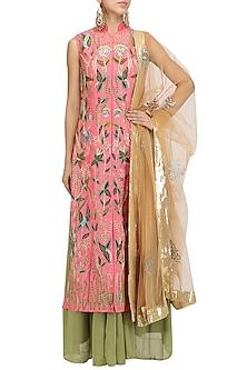 Coral Pink Jaal Embroidered Kurta with Green Lehenga and Dupatta Set by Aharin India