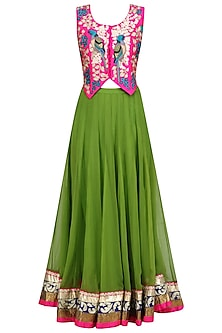 Pink Birds Embroidered Waistcoat and Green Lehenga Skirt Set
