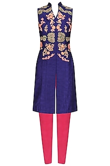Blue Embroidered Long Jacket and Pink Fitted Pants Set by Aharin India