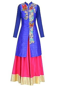 Blue Butterfly Embroidered Long Jacket and Pink Skirt Set