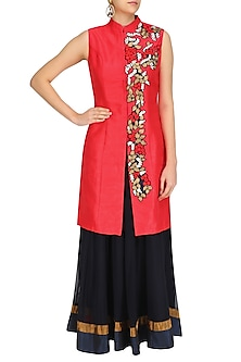 Red Fruits Embroidered Jacket with and Navy Skirt Set by Aharin India