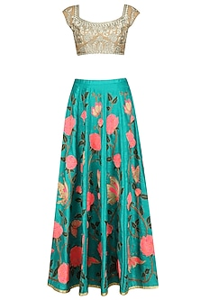 Turquoise Blue Floral Work Lehenga Skirt with Gold Blouse