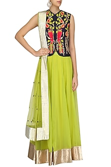 Blue Birds Embroidered Jacket and Lime Skirt Set by Aharin India