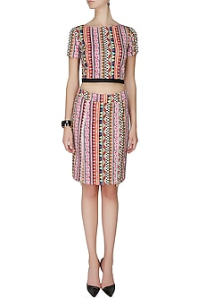Multi coloured shack crop top and pencil skirt by Ash Haute Couture