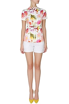White hawaii zipper top by Ash Haute Couture