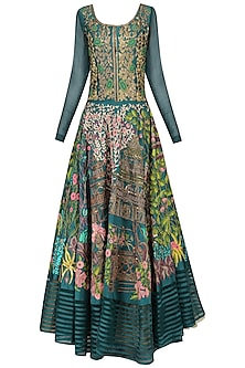 Teal Floral Embroidered Anarkali